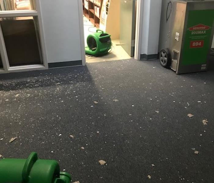 SERVPRO equipment in two adjoining rooms