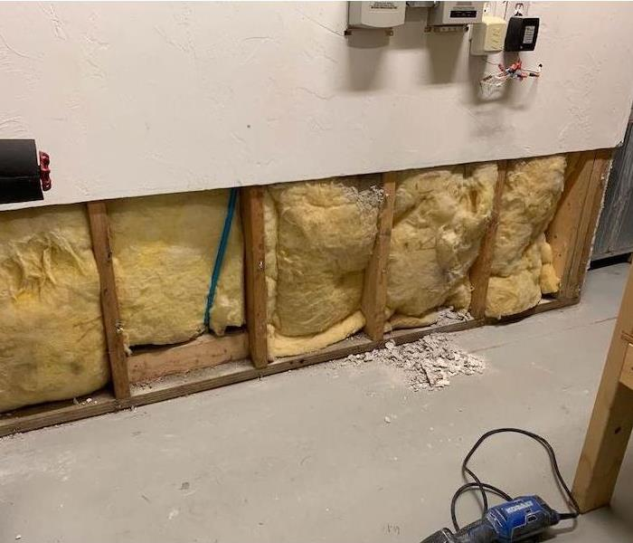 Wall with insulation and framework exposed
