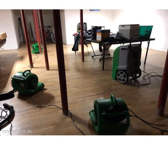 Drying equipment on wood flooring