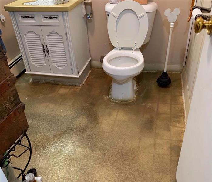 Bathroom with sewage water on the linoleum floor