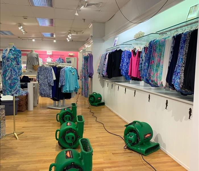 SERVPRO drying equipment in a store